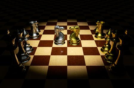 battle plan: Knight battle chess on a board 3d rendering. Stock Photo