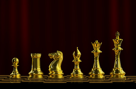 Gold chess on a board 3d rendering.