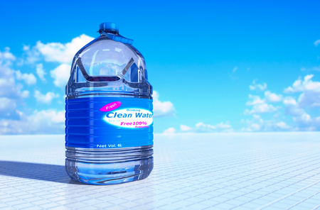 liter: 6 liter bottle of drinking water 3d rendering.