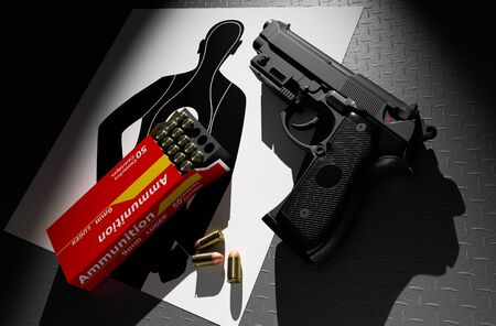 target practice: Pistol with ammunition target practice on paper 3d rendering.