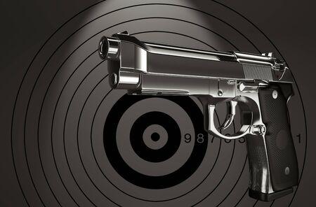 target practice: Pistol target practice in the background 3d rendering.