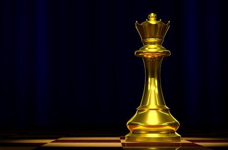 battle plan: Golden Queen on a chessboard background luxury. Stock Photo