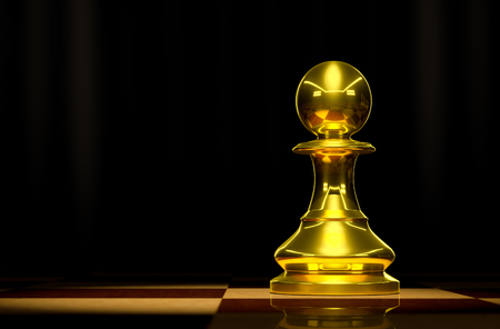 battle plan: Gold Pawn on chessboard background luxury.