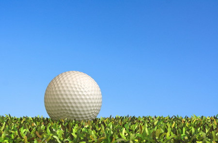 relaxation background: Close-golf on grass 3d rendering. Stock Photo