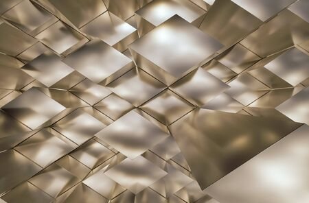 trapezoid: Fields trapezoid reflective shiny abstract 3D rendering.