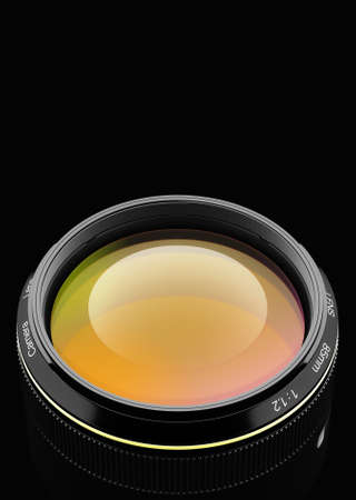 video shooting: Lens at close range in the background 3D rendering. Stock Photo