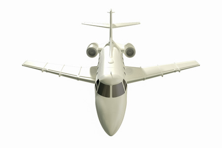 Jet aircraft flying in a white background 3d rendering.