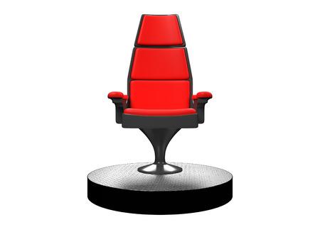 comité d entreprise: Chaise moderne sur scène dans un blanc rendu fond 3D.