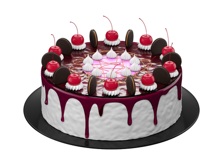 fancy cakes: Fancy cakes in white background 3d rendering.