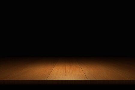 footbridge: Empty wooden floor in a dark background 3d rendering.