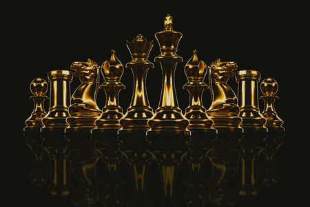 Gold metal chess set in the background 3d render.