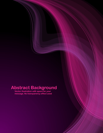 Abstract  pink and purple transparent waves on dark  background.  Vectores