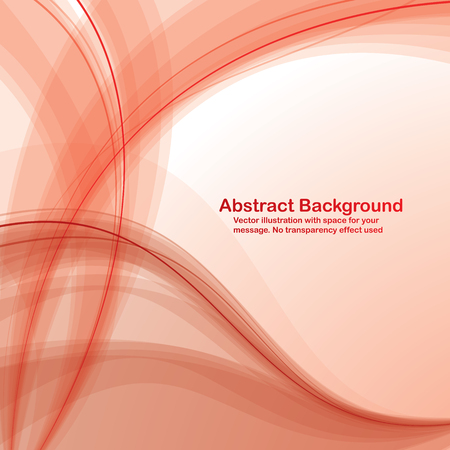 Abstract  red  transparent waves on white  background. Vector