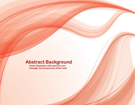 Abstract  red  transparent waves on white  background.