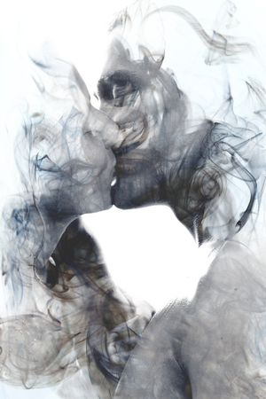 Portrait couple kissing  photography blends in with original artwork Фото со стока