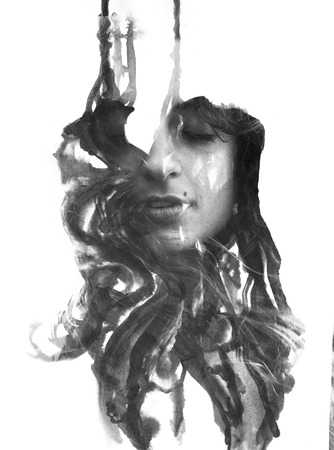 Paintography. Effect of dripping like ink masks her face Imagens