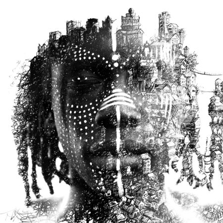 Paintography. Double exposure close up portrait of dark skinned man with traditional style face paint dissolving behind hand made drawing of houses and a bridge 免版税图像