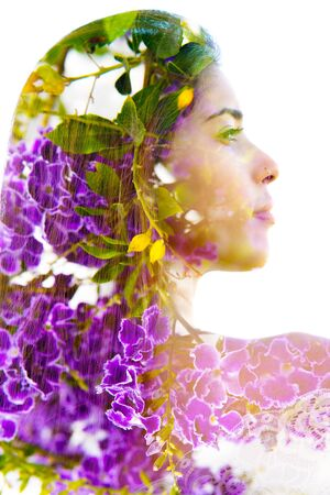 Double exposure with an ecological concept showcasing the beautiful femine nature of purple flowers