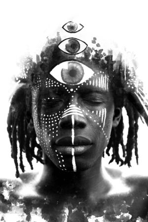 Paintography. Double exposure of African man with traditional style face paint dissolving behind black ink painting of three eyes Stock Photo
