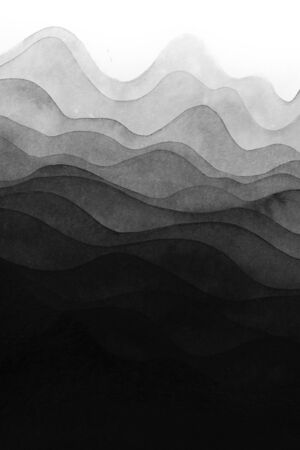Hand drawn painting with placing layers of black ink on top of one another and resembling a wavy mountain landscape
