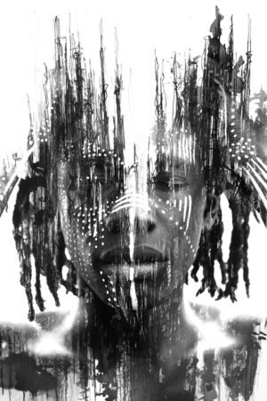 Paintography. Double exposure of African man with traditional style face paint dissolving behind black ink lines