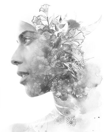 Double exposure. Paintography. Portrait of a beautiful young female model disappearing behind black ink painting on white background Archivio Fotografico
