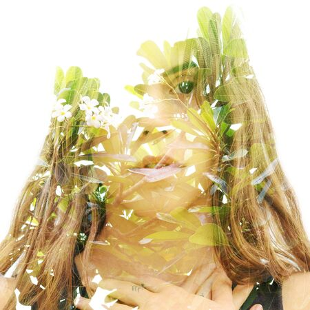 Double exposure with an ecological concept showcasing the beauty of nature