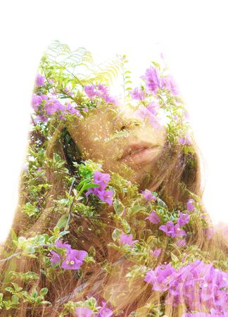 Double exposure with an ecological concept showcasing the delicate beauty of nature