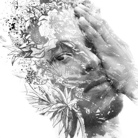 Paintographie. Doppelbelichtetes Porträt eines Mannes mit starken Zügen kombiniert mit handgemachter Malerei von Blumen und Blättern, die sich in seiner Haut auflösen