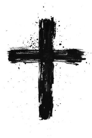 Cruz de tinta negra pintada a mano con textura de trazo de pincel y salpicaduras sobre fondo blanco aislado Foto de archivo