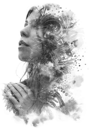 Paintography. Double exposure of womans profile dissolving into swirls and shapes with floral motifs, black and white Stok Fotoğraf