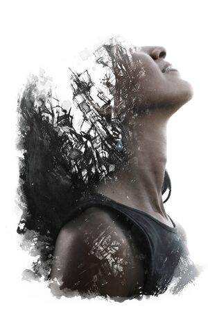 Paintography. Double exposure of womans face dissolving into black ink painting Stockfoto