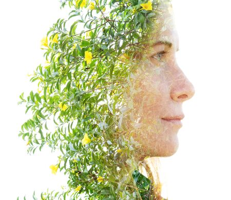 Double exposure with an ecological concept showcasing the beautiful feminine nature of plants Imagens