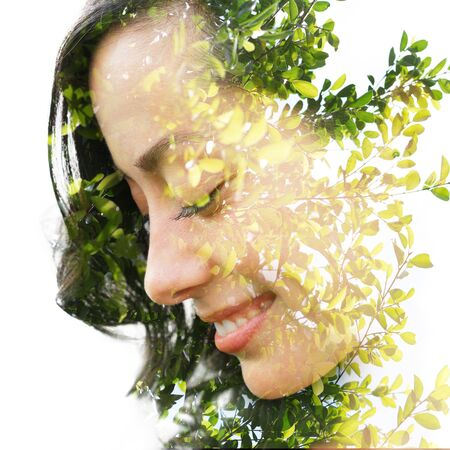 Double exposure with an ecological concept showcasing the beautiful feminine nature of plants 版權商用圖片