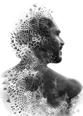 Paintography. Double exposure portrait of a man with strong features combined with handmade painting with symbols