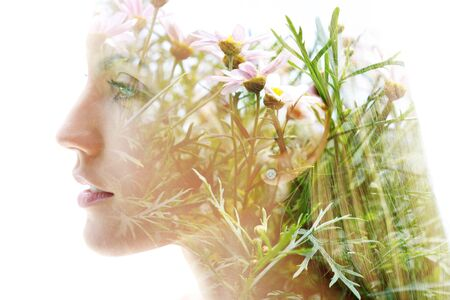 Double exposure woman's closeup portrait with an ecological concept showcasing the beautiful feminine nature of plants and flowers