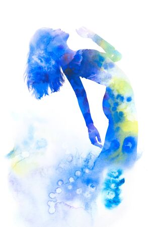 Paintography. Double exposure portrait of an elegant slender womans silhouette combined with bright blue hand drawn watercolor painting 写真素材