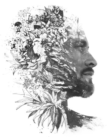 Paintography. Double exposure. Close up portrait of man with strong features and light beard dissolving behind hand painted floral watercolor and ink painting, black and white