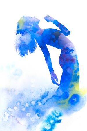 Paintography. Double exposure portrait of an elegant slender womans silhouette combined with bright blue hand drawn watercolor painting Stock Photo