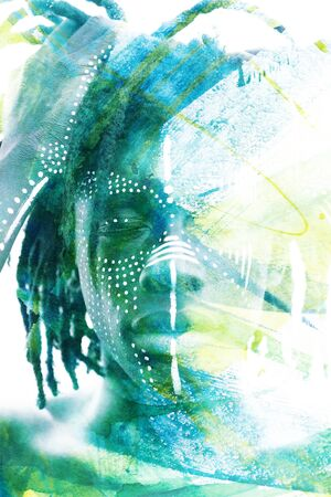 Paintography. Double exposure portrait of an african man with dreadlocks combined with handmade painting of colorful cloudy ink brushstrokes which dissolve into his skin