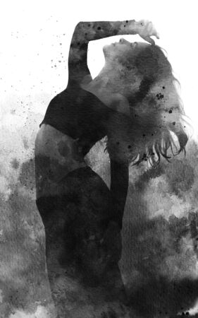 Paintography. Double exposure portrait of an elegant slender womans silhouette combined with black ink painting with flowing brushstrokes