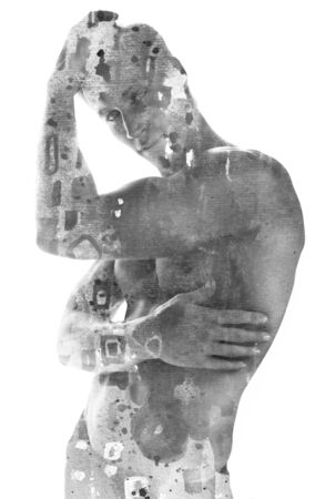 Paintography. Double exposure of a fit muscular man posing with hand on head combined with hand painted artwork with brushstrokes and texture, black and white