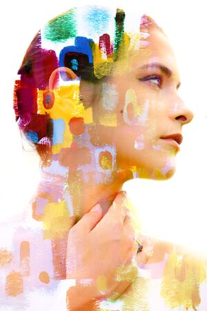 Paintography. Double Exposure portrait of a young beautiful woman combined with hand drawn ink painting Imagens
