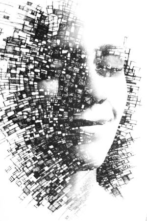 Paintography. Double exposure close up portrait of young female combined with black and white drawing of lines connecting to form boxes, on isolated white background Imagens