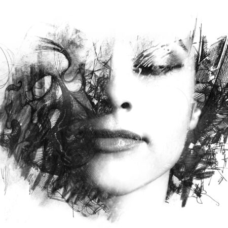 Paintography. A portrait of young woman combined with an abstract illustration
