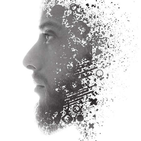 A portrait combined with a digital illustration