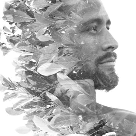 Surreal creative double exposure portrait