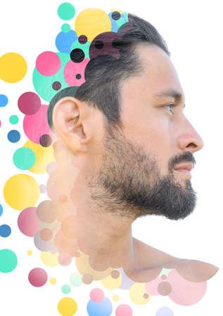 Portrait combined with a digital illustration 版權商用圖片