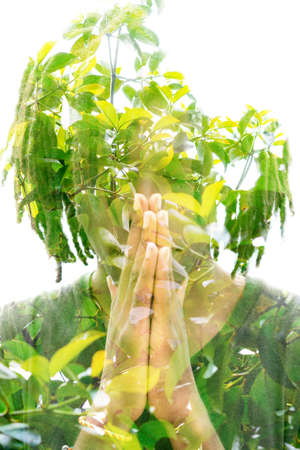Young man double exposure portrait with leaves
