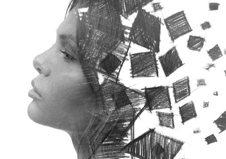 A black and white geometrical paintography double exposure of a womans profile against white bakcground